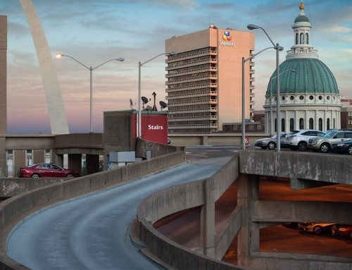The Arch and the Old Courthouse From Keiner Plaza Garage, Sunset